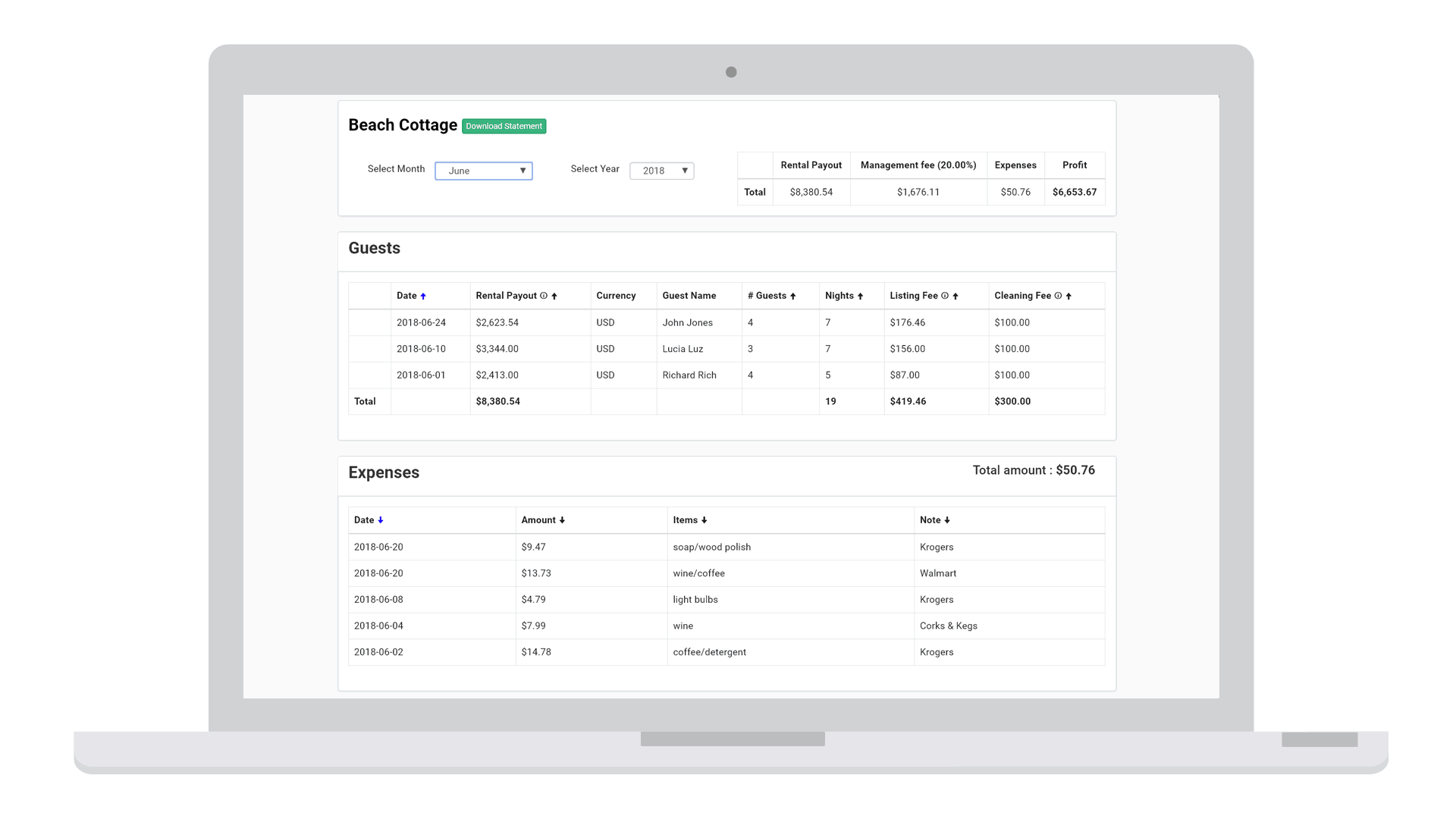 Airbnb accounting tool